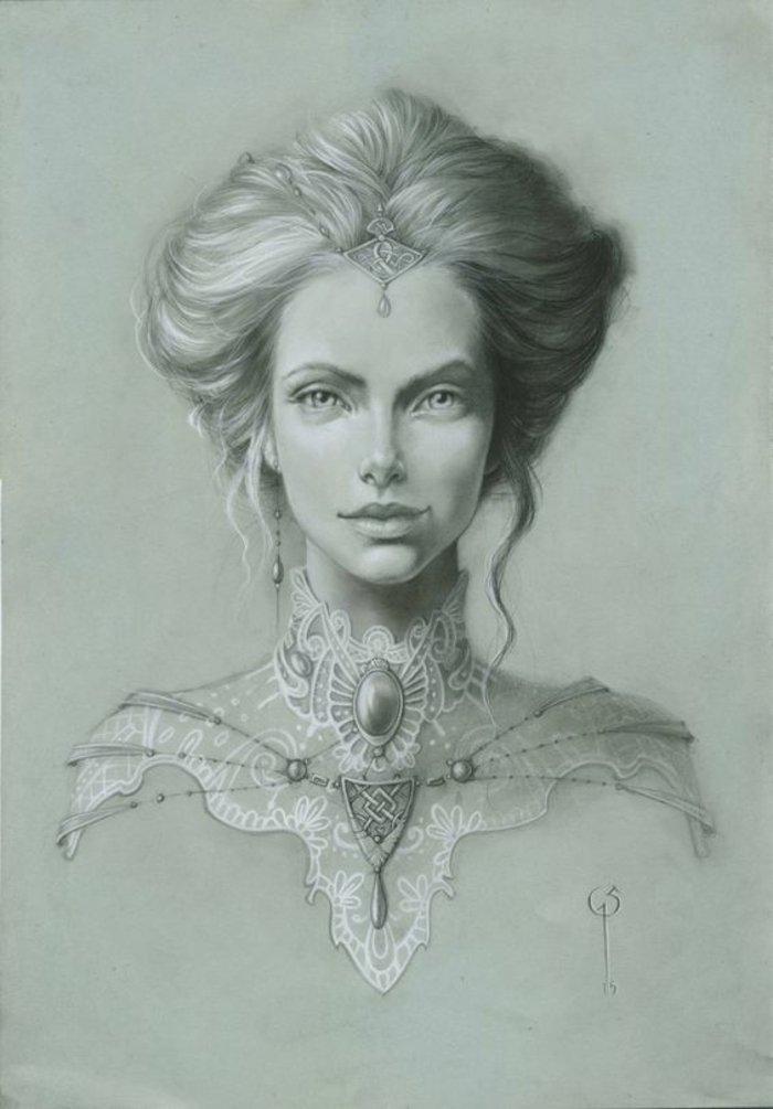 eine Frau mit Haarschmuck und eine prächtige Frisur, schöne Bilder zum Abzeichnen mit vintage Elemente