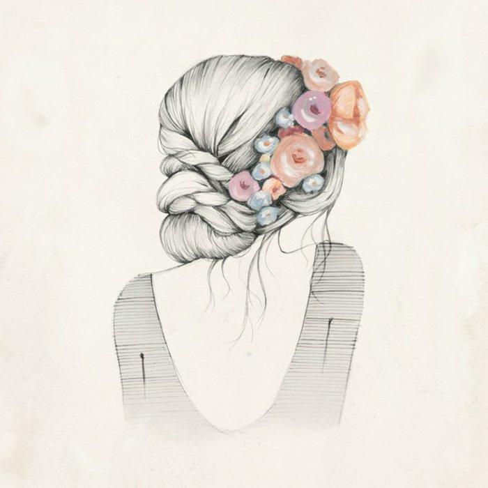 ein Mädchen mit Blumen im Haar, ein schickes Kleid und ein nackter Rücken, schöne Bilder zum Abzeichnen