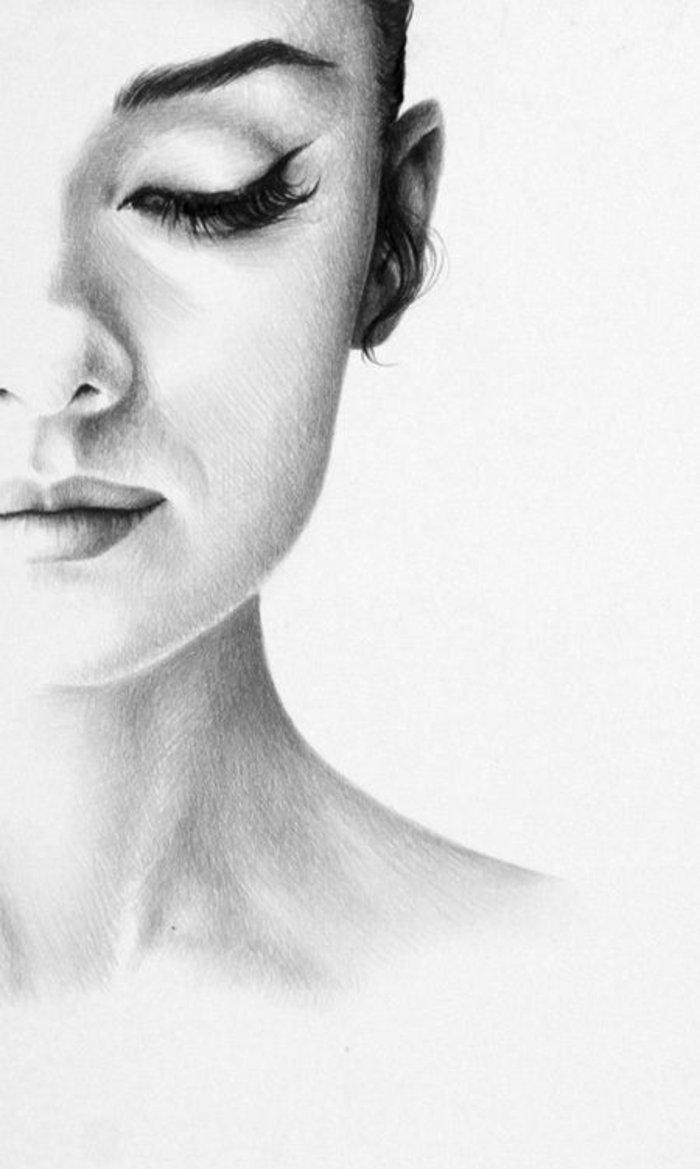 ein schönes Mädchen, schöne Bilder zum Abzeichnen, mit langen Hals und lange Wimpen