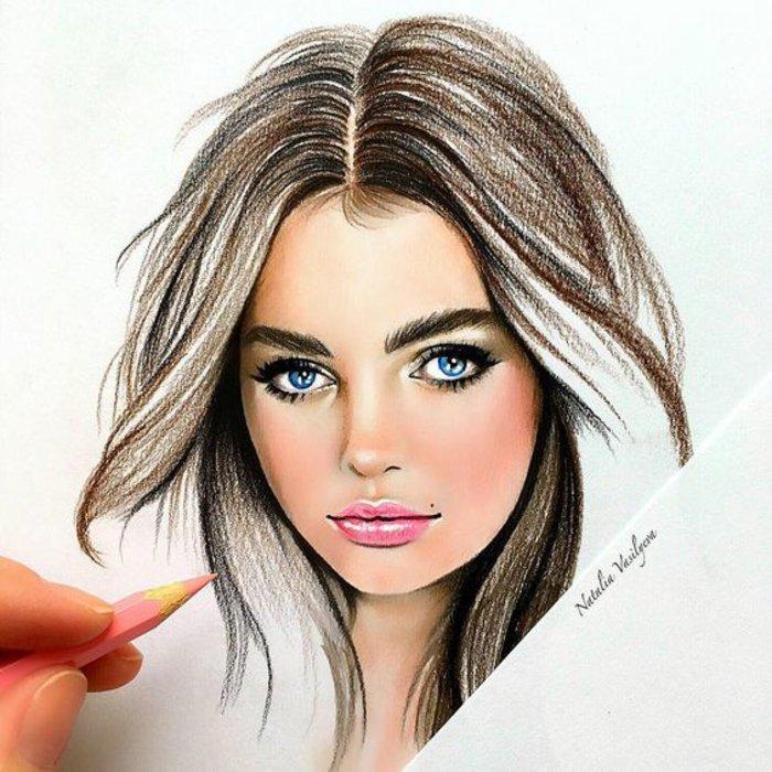 ein hübsches Mädchen, mit rosa Bleistift gezeichnet, blaue Augen und volle Lippen, schöne Bilder zum Abzeichnen