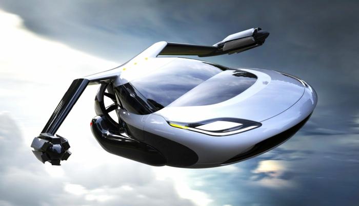 ein weißes Auto in dem Luft, ein fliegendes Auto mit aerodynamischer Form, gelbe Lichte