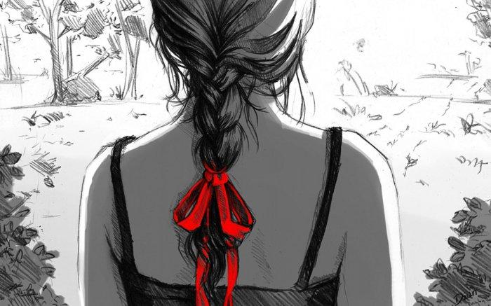 ein Mädchen mit roter Schleife, ein langes Zopf, schwarze Bluse, schöne Bilder zum Abzeichnen