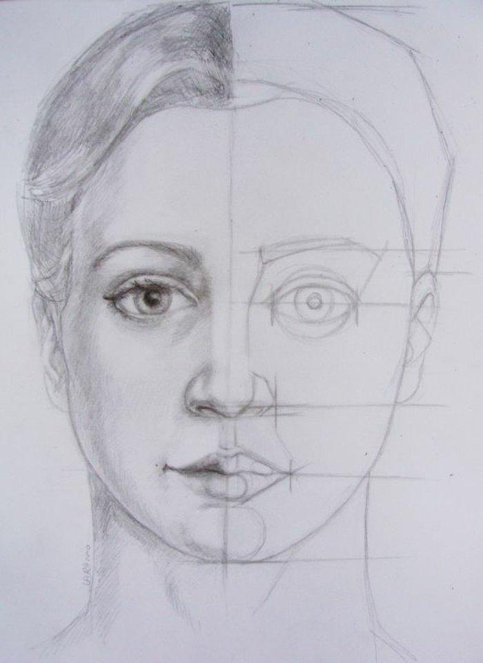 ein halb fertiges Bild, das uns zeigt, wie man ein Mädchen zeichnet, Mädchen malen mit Bleistift