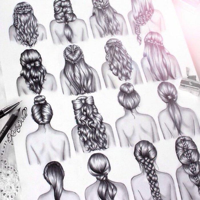 sechzehn Bilder von Mädchen mit verschiedenen Frisuren, Mädchen malen mit kreativen Frisuren