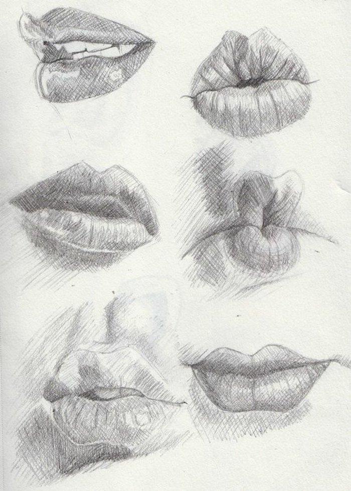 sechs Lippen, Mädchen malen, Lippen, die Kuss geben, Lippen die sich lächeln, halb geöffnete Lippen