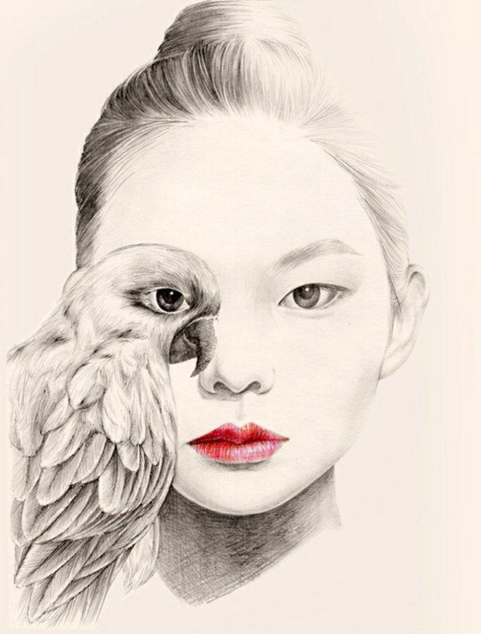 ein Mädchen mit rotem Lippenstift, eine asiathisches Mädchen malen mit einer Papagei wie Ihr Auge