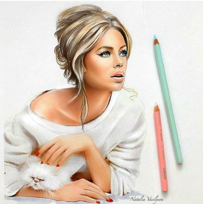 ein Mädchen streichelt eine weiße Katze, Mädchen malen mit einer weießen Bluse und blondes Haar