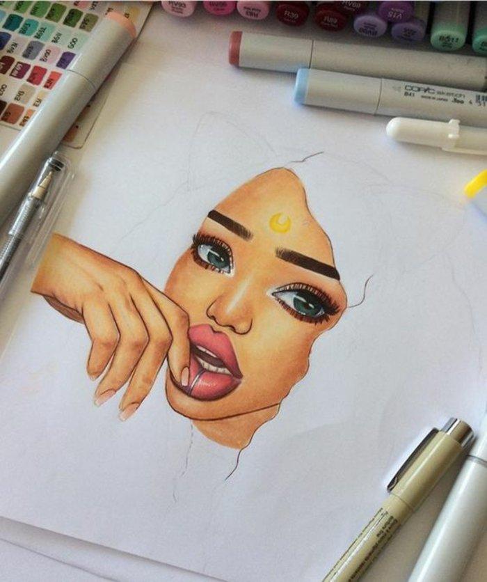 ein Gesicht von Mädchen mit vollen Lippen, ein Zeichen am Stirn, Mächen malen mit Katzenohren