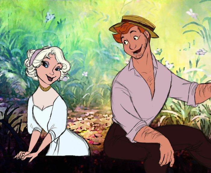 ein Mädchen mit weißem Haar und blauen Augen und ein rothaariger Junge, Mädchen malen