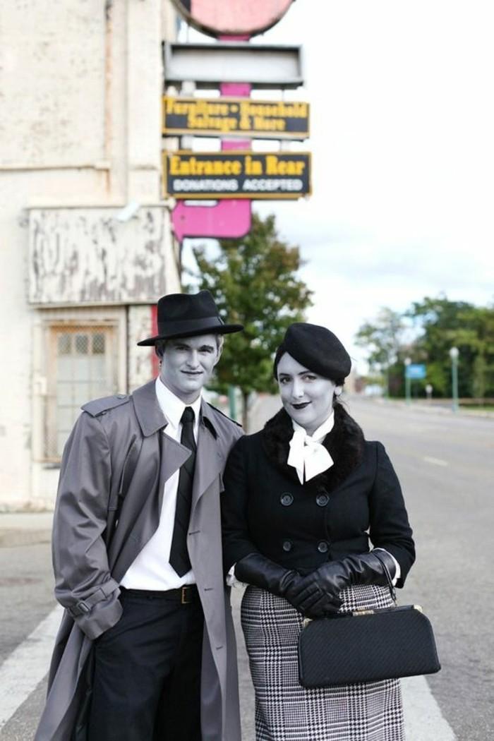 gruselige kostüme, mann und frau, kostüme für paare, graue gesichter, gespenster im town