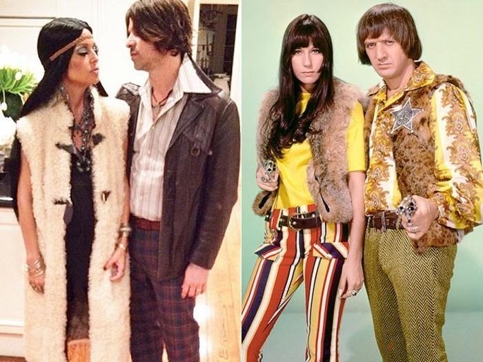 halloween verkleidung im stil der siebziger jahren, hippie style ideen, mann und frau, paarkostüme