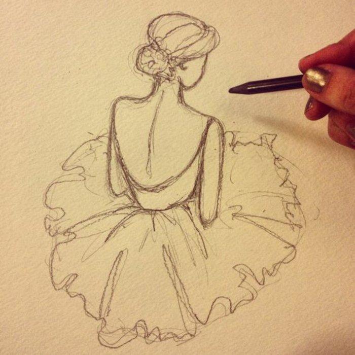 eine Zeichnung von Ballerina mit Kleid und nackten Rücken, Mädchen Zeichnung mit Bleistift