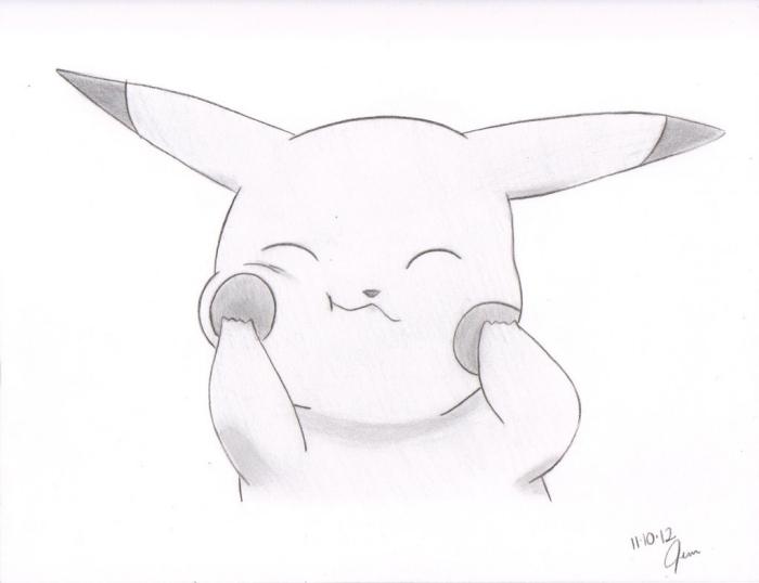 einfache zeichnungen, pikachu zeichnen, kleines anime tier, bild