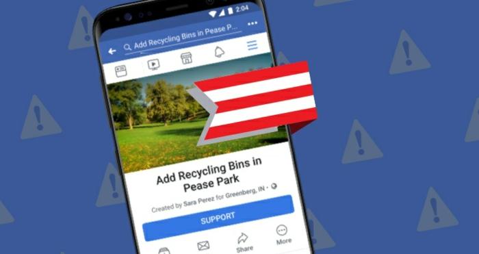 eine Smartphone, auf dem Display zeigt sich eine Petition, die Petition Funktion von Facebook