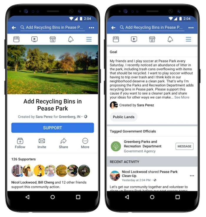 zwei Displays mit der Petition Funktion von Facebook, ein Bild von Wald, das Ziel