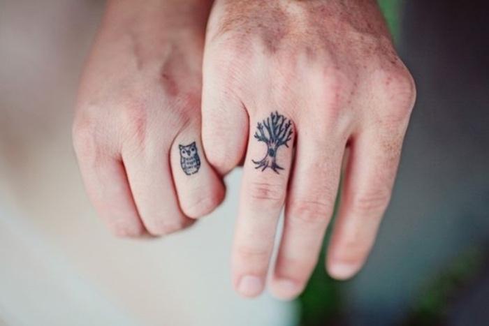 tattoo arm frau und mann, baum und seine eule, partnertattoo ideen kreativ