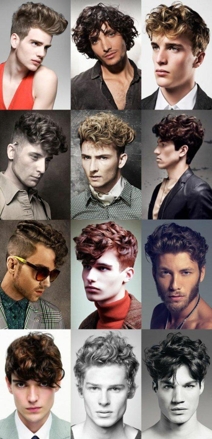 krauses haar, viele beispiele, ideen zum haare stylen, zwölf kleine bilder von männern in collage gebunden