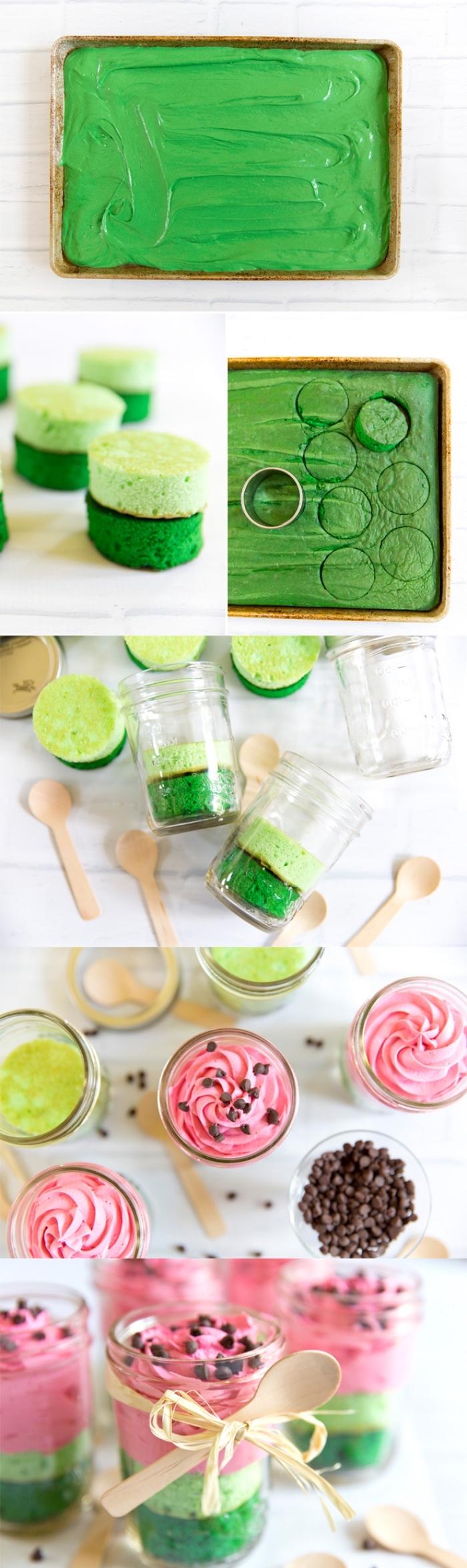 glaskuchen zubereiten, grüner tortenboden, rosa buttercreme, schokoladenchips