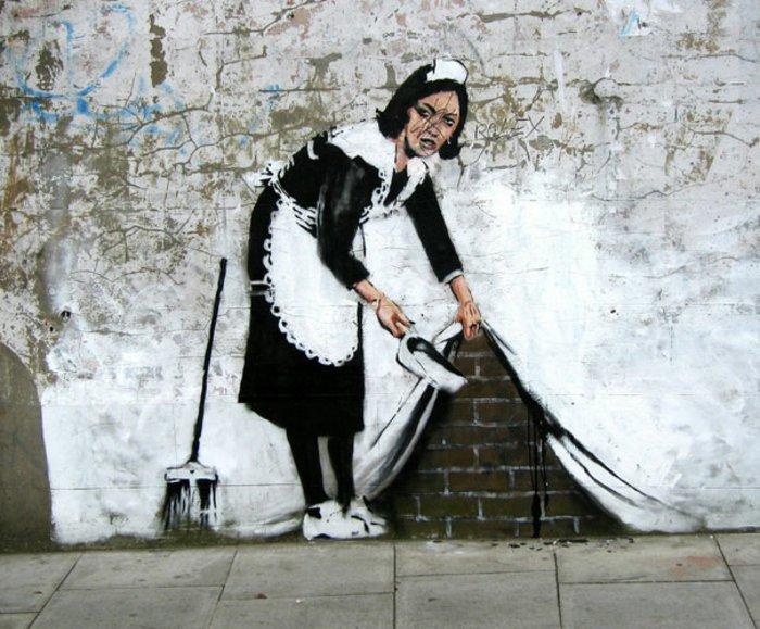 ein Dienstmädchen auf Graffiti, schöne Bilder zum Abzeichnen, ein schlaues Street Art