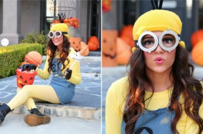 eine junge frau mit minion kostüm, halloween verkelidung idee, einfach zum schaffen, gelbe strumpfhose, braues kleid, gelber hut und weiße brille