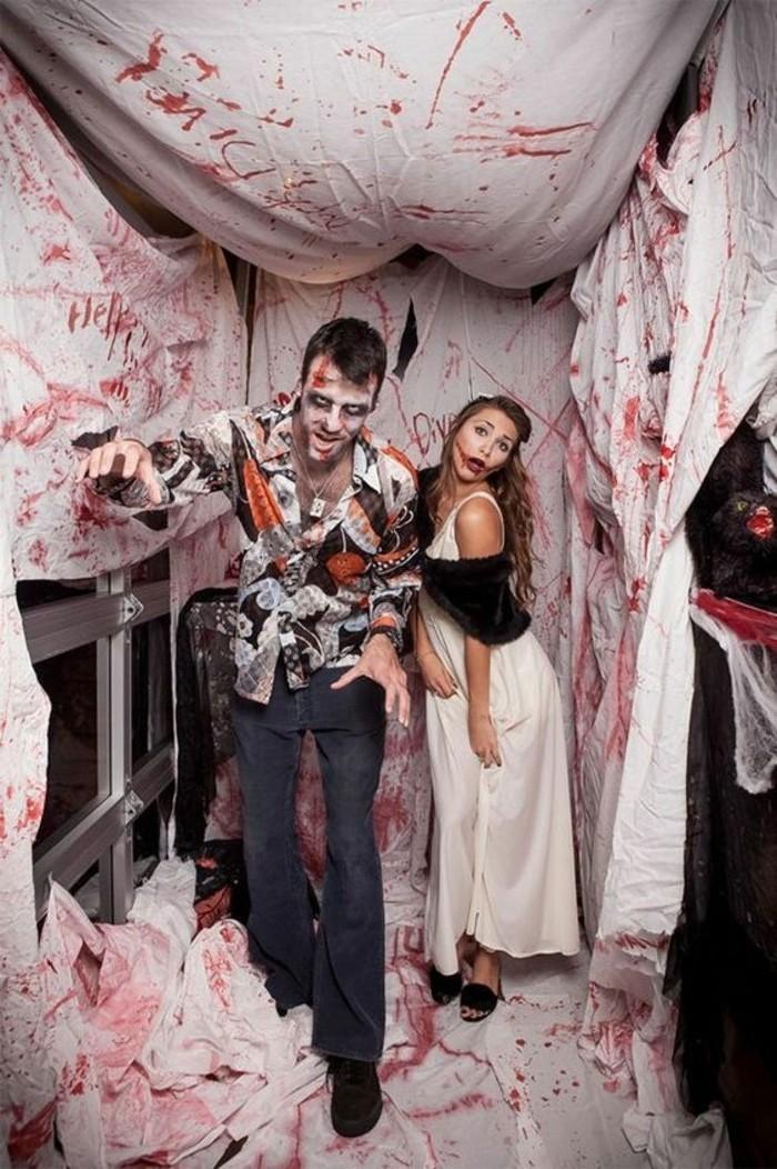 helloween kostüm selber machen, mann und frau, paarkostüme, zombie look zu hause schaffen