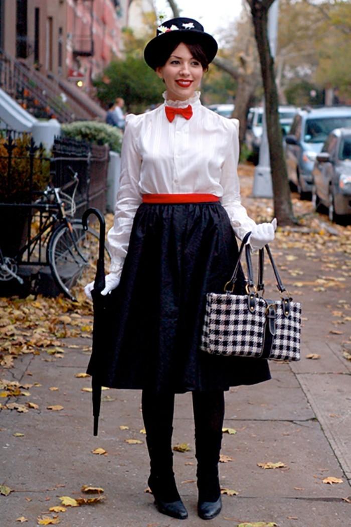 einfache kostüme, mary poppins, die liebste nanny aller zeiten, cooles outfit, schwarzer rock, weißes hemd, hut, rote fliege