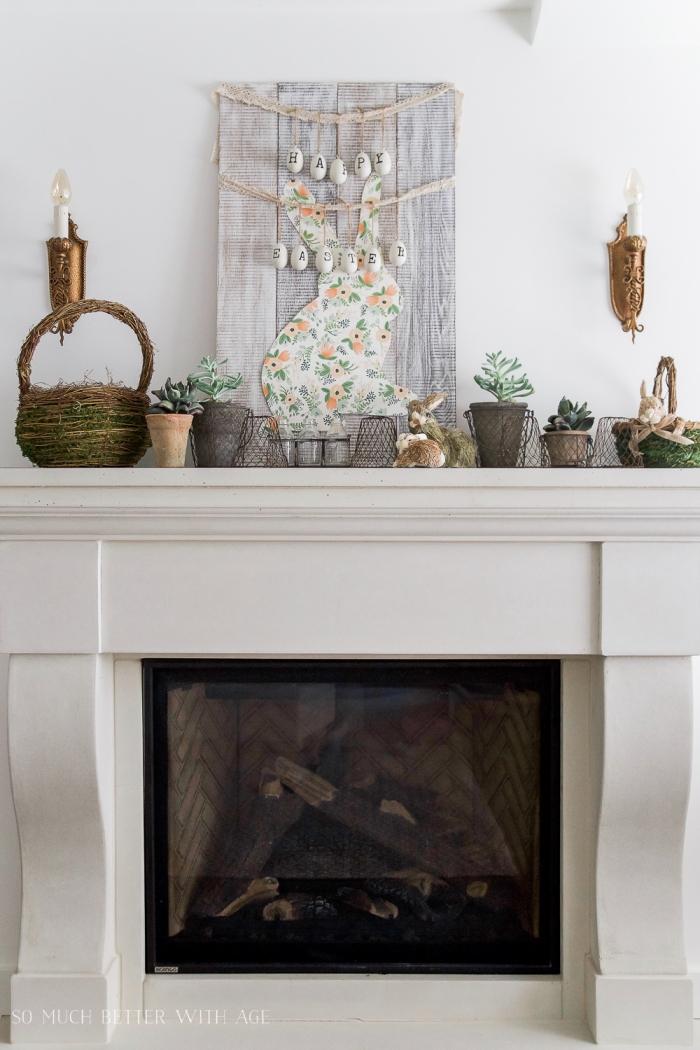 kamin dekorieren zum ostern, hase vorlage zum ausdrucken, kleine pflanzen, hase aus buntem papier
