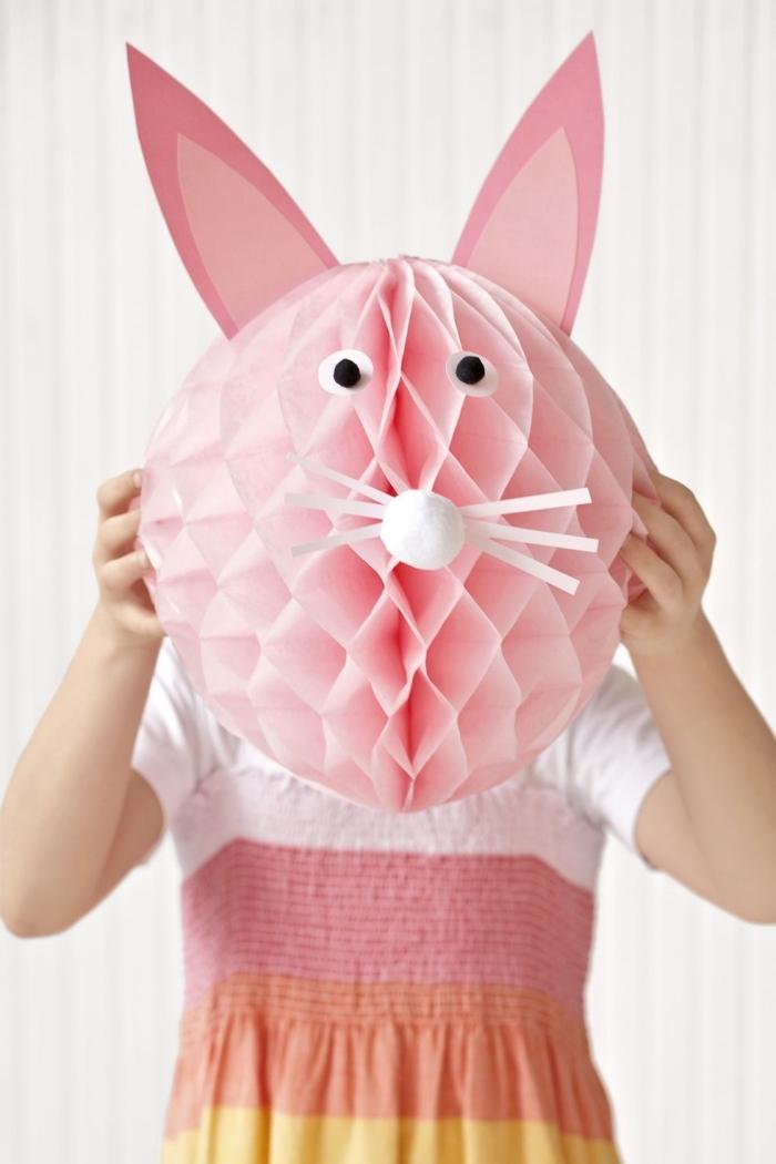 ostern ideen zum selbermachen, hasen basteln mit kindern, wabenwall aus rosa papier