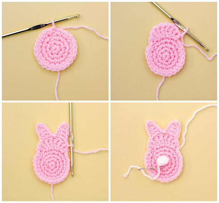 osterhase stricken anleitung, rosa garn, hasen basteln, diy girlande selber machen