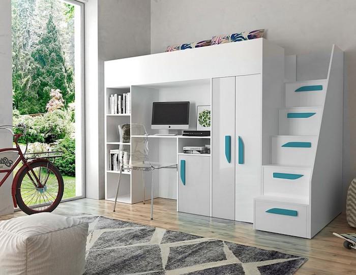 Hochbetten mit Schreibtischen und Schränken, gute Idee nicht nur für kleine Räume