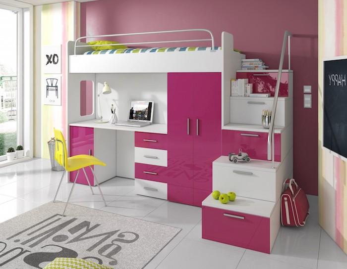Praktisches Hochbett mit Schreibtisch und Kleiderschrank in Weiß und Violett