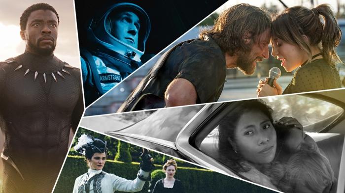 ein Collage mit der Oscar-Nominierung für besten Film diesem Jahr, wer wird die Oscars moderieren