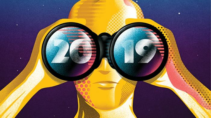 ein Oscar sieht mit Fernglas in der Zukunft wann die Oscars stattfinden in 2019, Sternenhimmel im Hintergrund