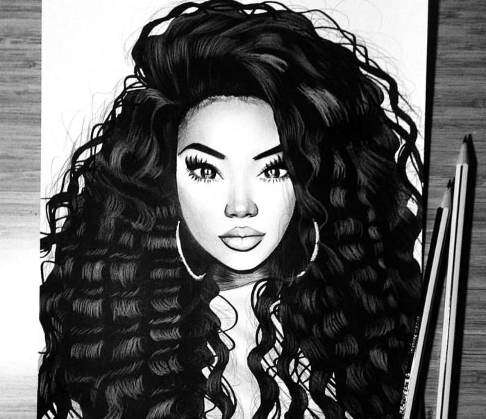 ideen zum zeichnen, frau mit dichten lockigen schwarzen haaren und großen ohrringen