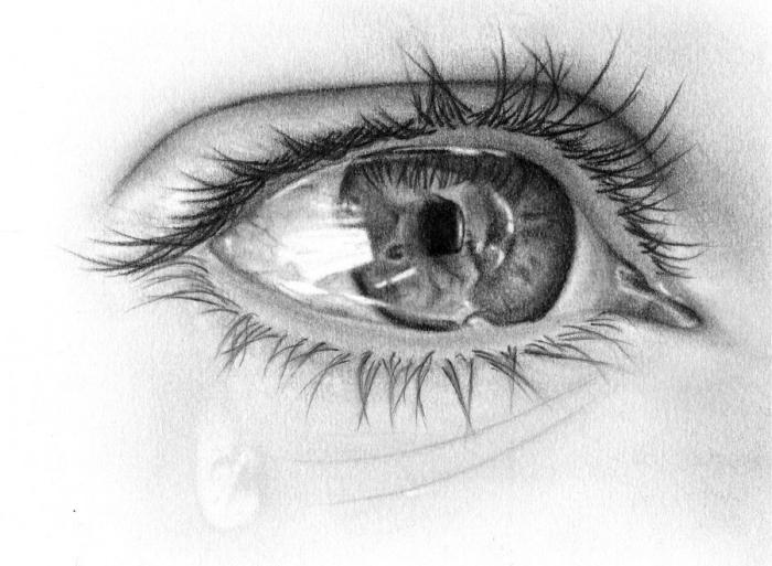 ideen zum zeichnen, realitische frauenauge, fallende träne, weinen