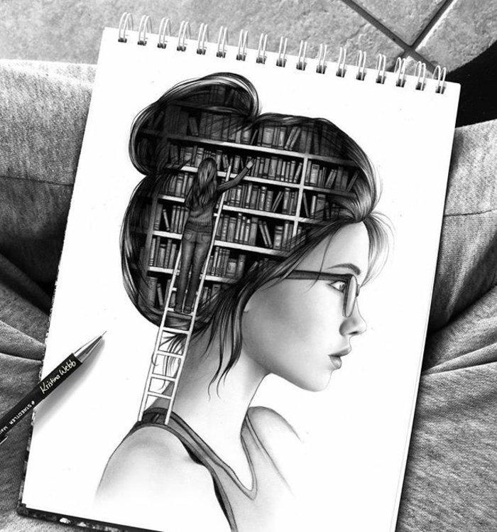 Mädchen zeichnen, im Kopf des Mädchens hat eine Bibliothek, wo sie nach Erinnerungen sucht