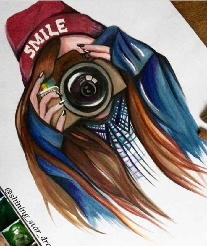 ein Mädchen mit Instagram Fotoaparat, rote Mütze und lange rote Haare, schöne Bilder zum Abzeichnen