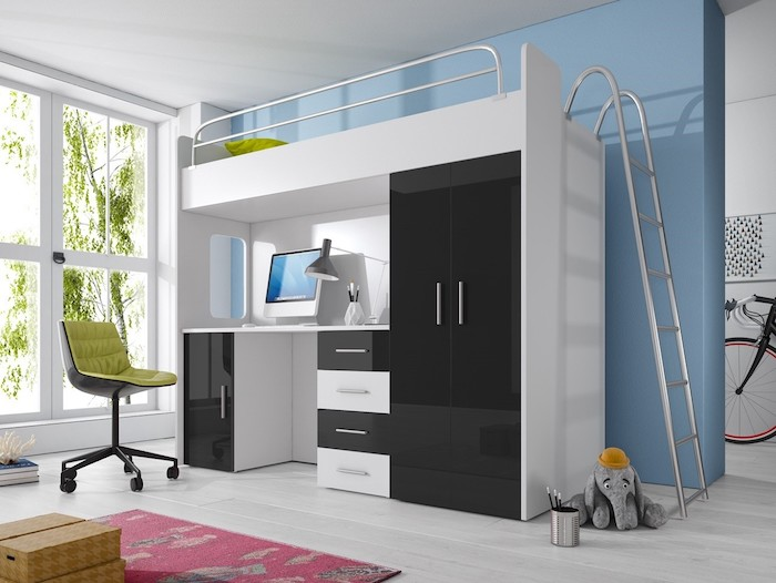 Ein ruhiger Ort zum Schlafen und Lernen, Hochbett in Schwarz und Weiß