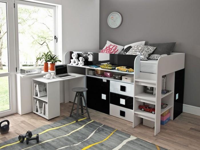 Hochbett mit Schränken und Schubladen, Schreibtisch mit Hocker, Kinderzimmer Einrichtung