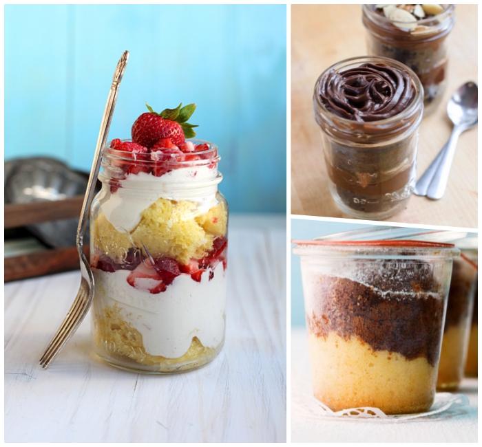 dessert mit sahne und erdbeeren, kuchen rezepte einfachund schnell, gabel