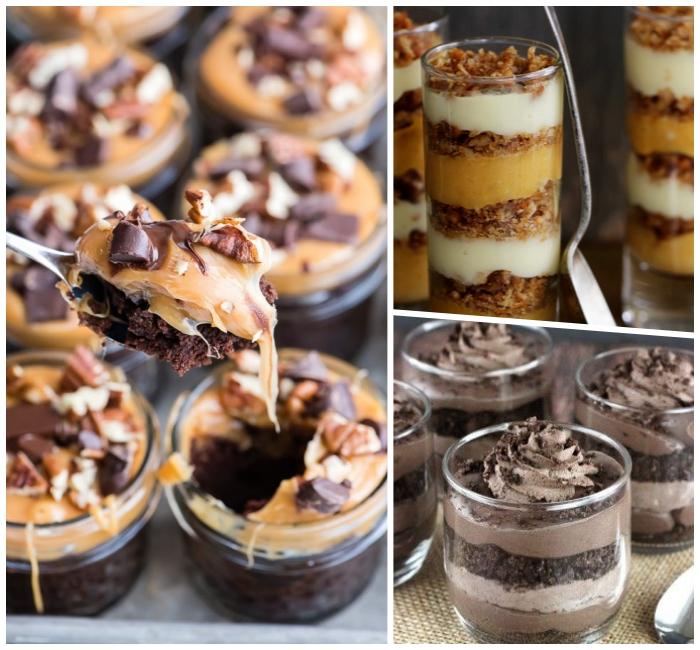 dessert mit oreo keksen, kuchen zutaten im glas, schokokuchen mit karamell