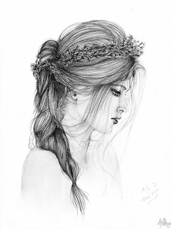 Mädchen zeichnen, ein zartes Mädchen mit Zopffrisur und Blumenkranz in den Haaren