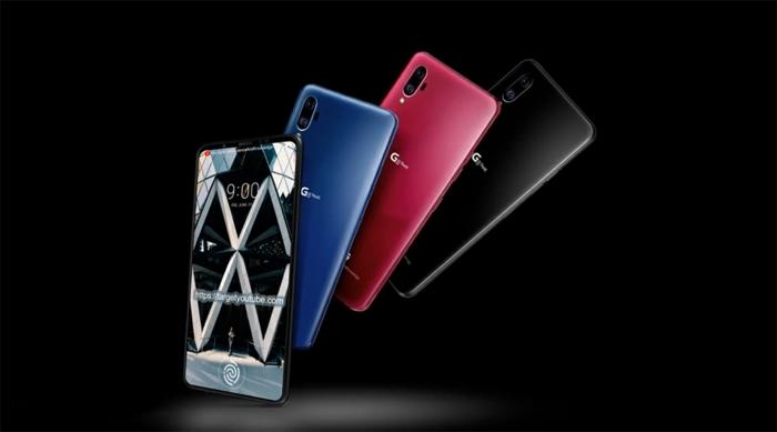 ein Handy und drei verschiedene Handyhüllen in blauer, rosa und schwarzer Farbe, zwei Displays