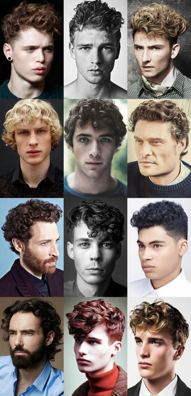 krauses haar stil ideen in collage, zwölf kleine fotos zusammengebunden, blond, schwarz rothaarige männer