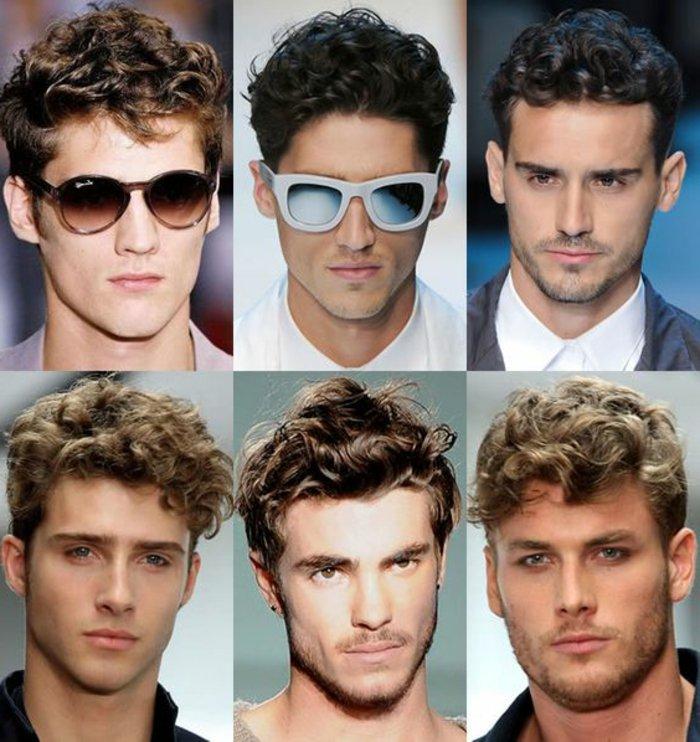 locken schampoo zum superstar look von jedem mann mit natürlich lockigen haaren, collage mit sechs bildern von männern, beispiele für haarstyling