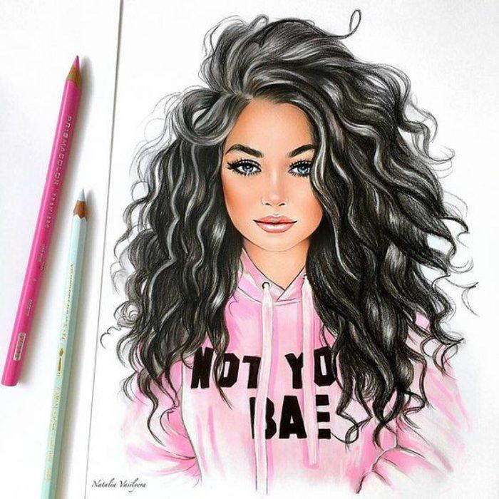ein Mädchen mit rosa Bluse und schwarze Haare, ein dezentes Make up, schöne Bilder zum Abzeichnen