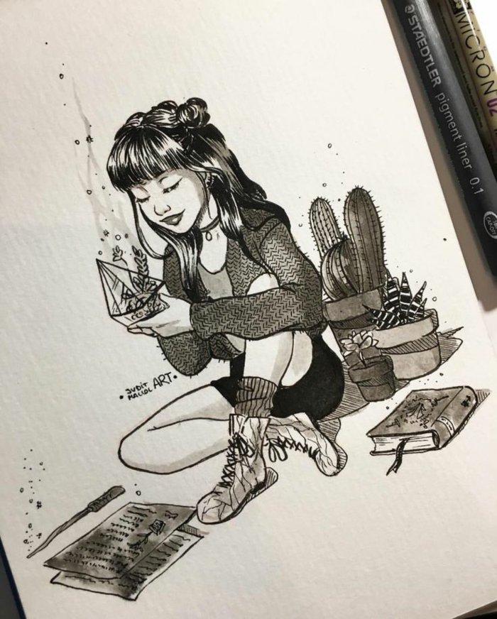 eine kleine Hexe trägt Blumen, die gezaubert sind, Mädchen zeichnen, ein niedliches Bild, Zauberstab