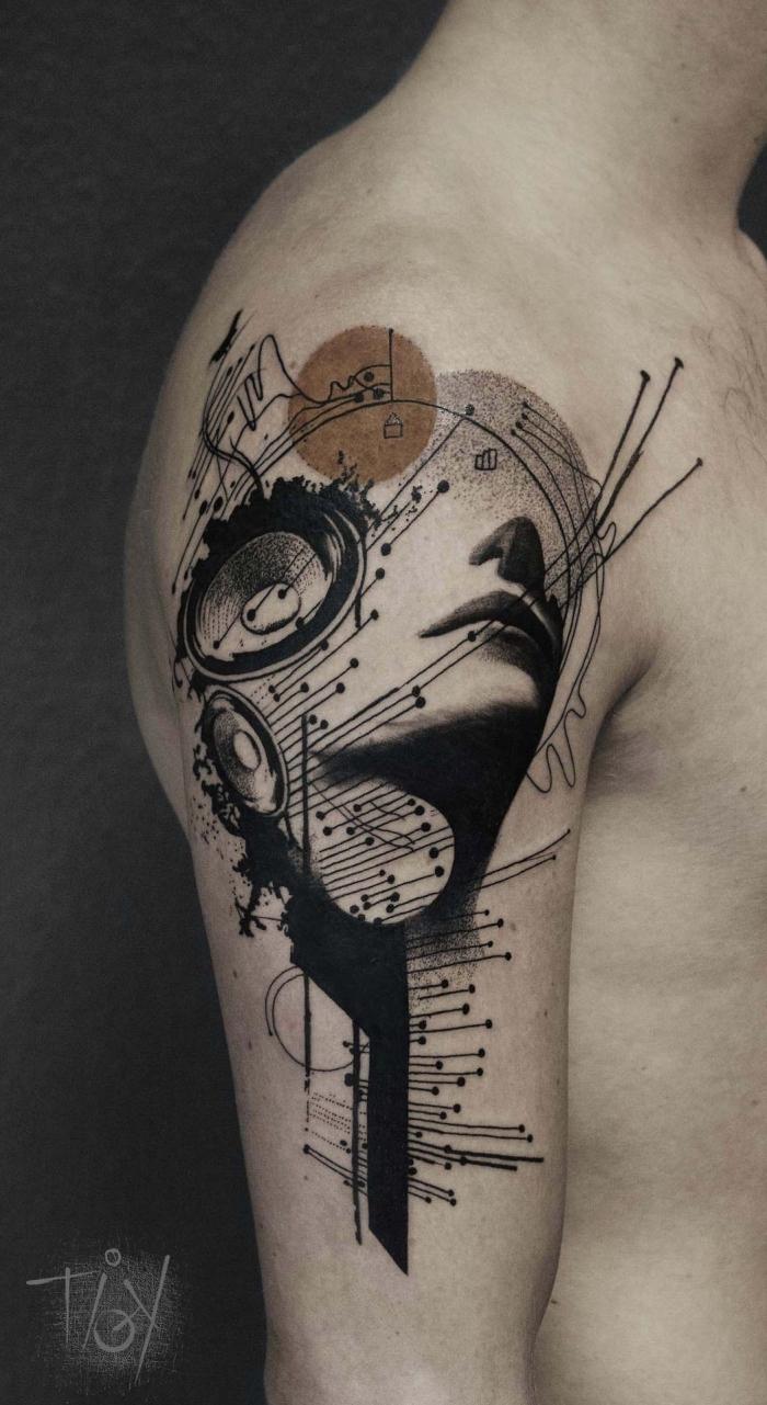 männer tattoos, blackwork designs, tätowierung am arm, music