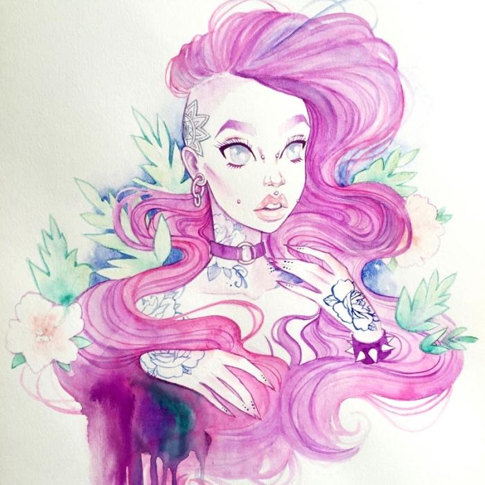 malen und zeichnen, mädchen mit langen rosa haaren und vielen tätowierungen, mandala, blätter
