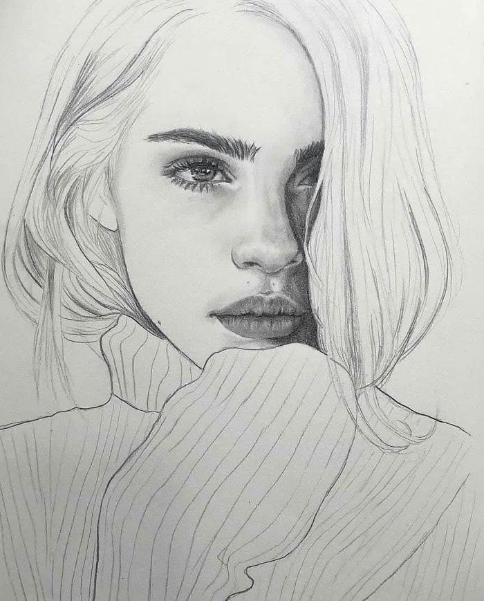 mensch zeichnen, frau mit schulterllange haaren, pulli mit langen ärmeln, gesicht